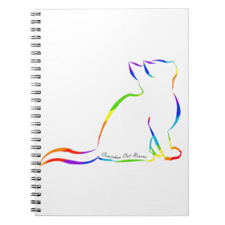 Rainbow cat silhouette, inside text notebook
