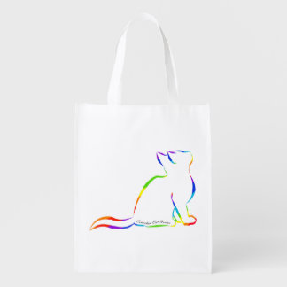Rainbow cat silhouette, inside text reusable grocery bag