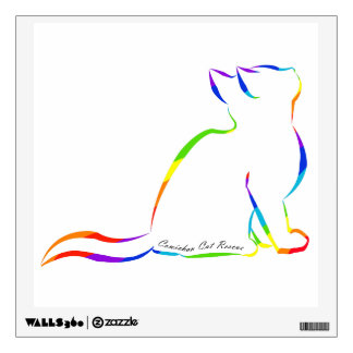 Rainbow cat silhouette, inside text wall decal