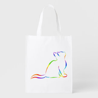 Rainbow cat silhouette reusable grocery bag