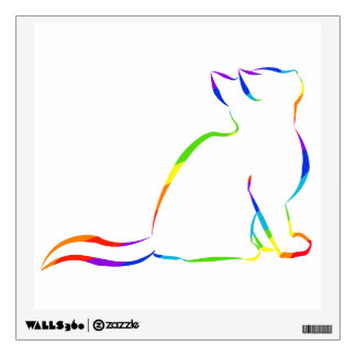 Rainbow cat silhouette wall sticker