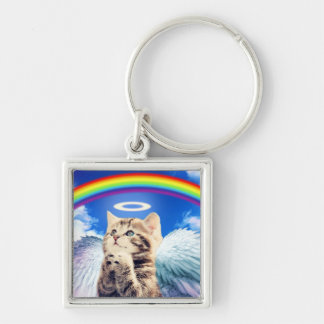 rainbow cat Silver-Colored square keychain