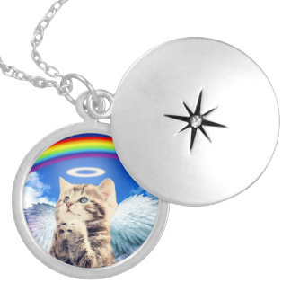 rainbow cat silver plated necklace