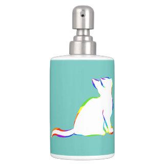 Rainbow cat, white fill bathroom set