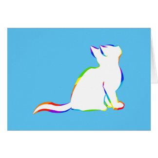 Rainbow cat, white fill card