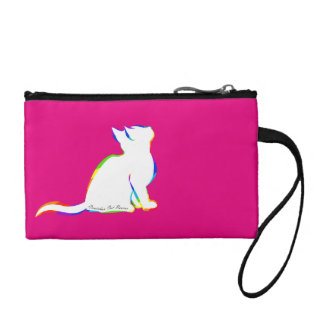 Rainbow cat, white fill, inside text coin purse