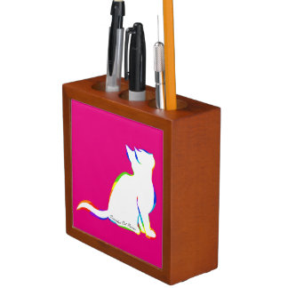 Rainbow cat, white fill, inside text desk organizer