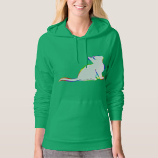 Rainbow cat, white fill, inside text hoodie