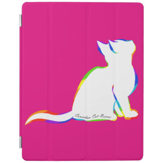 Rainbow cat, white fill, inside text iPad cover