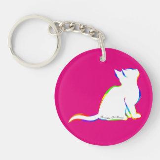 Rainbow cat, white fill, inside text keychain