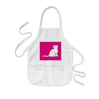 Rainbow cat, white fill, inside text kids apron