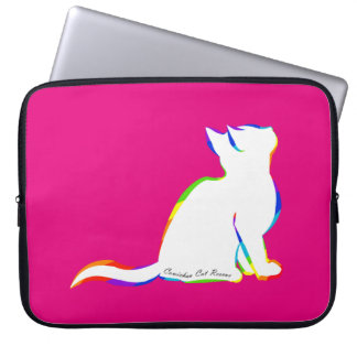 Rainbow cat, white fill, inside text laptop sleeve