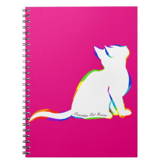 Rainbow cat, white fill, inside text notebook