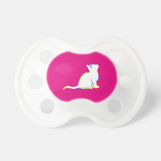 Rainbow cat, white fill, inside text pacifier