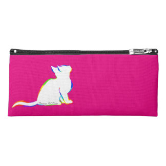 Rainbow cat, white fill, inside text pencil case