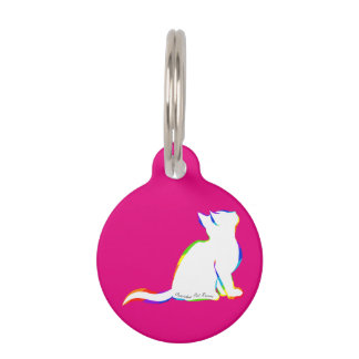 Rainbow cat, white fill, inside text pet tag