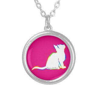 Rainbow cat, white fill, inside text silver plated necklace
