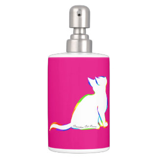 Rainbow cat, white fill, inside text soap dispenser and toothbrush holder