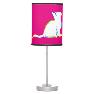 Rainbow cat, white fill, inside text table lamp