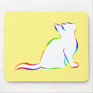 Rainbow cat, white fill mouse pad
