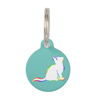 Rainbow cat, white fill pet name tag