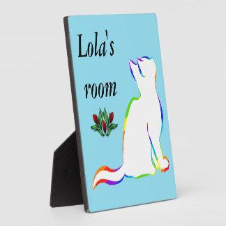 Rainbow cat, white fill plaque