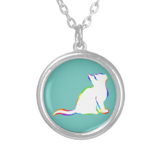 Rainbow cat, white fill silver plated necklace
