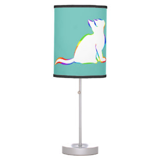 Rainbow cat, white fill table lamp