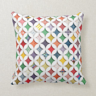 Rainbow Cathedral  Window Pattern Throw Pillow
