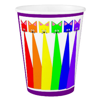 Rainbow Cats Meow Paper Cup