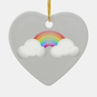 Rainbow Ceramic Heart Ornament