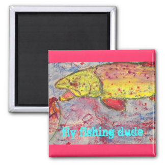 rainbow chasing fly square magnet