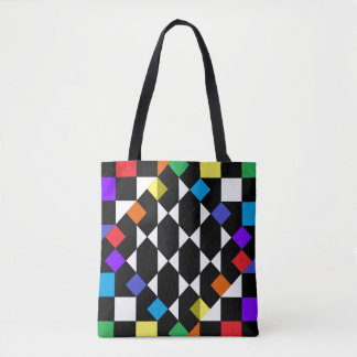 Rainbow Checkerboard Fashion Beach Picnic Totes