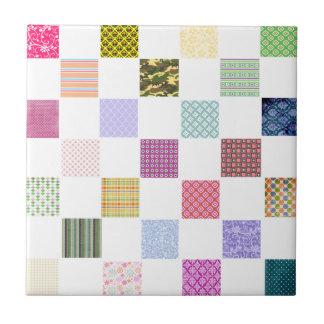 Rainbow Checkerboard pattern Ceramic Tiles