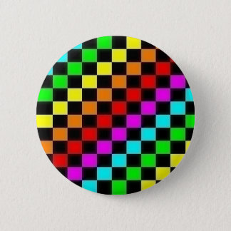 rainbow checkers 2 inch round button