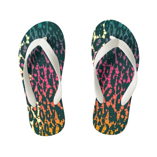 Rainbow Cheetah Kid's Flip Flops
