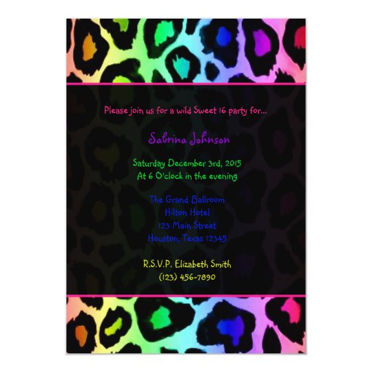 Rainbow Cheetah Wild Sweet 16 Birthday Party Card