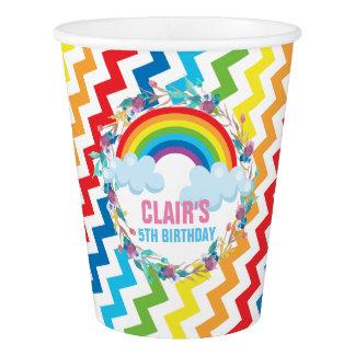 Rainbow Chevron Birthday Paper Cup