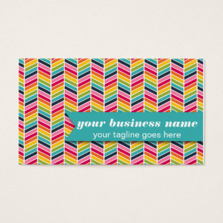 Rainbow Chevron Business Cards - Bright, Colorful