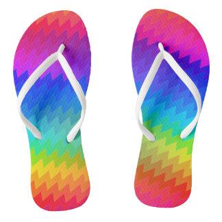 Rainbow chevron flip flops