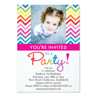 Rainbow Chevron Party Invitation