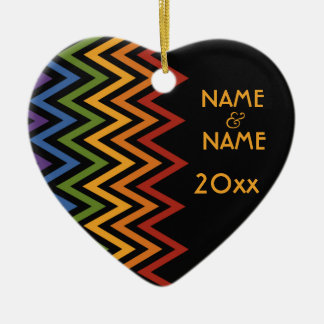Rainbow Chevron Pattern custom ornament