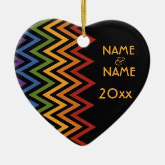 Rainbow Chevron Pattern custom ornament