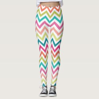 Rainbow Chevron Pattern Print Leggings