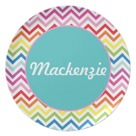 Rainbow Chevron - Personalized Melamine Plate