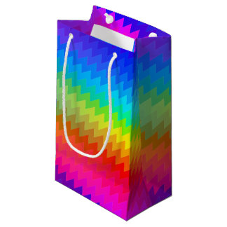 Rainbow chevron small gift bag