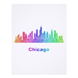 Rainbow Chicago skyline Custom Letterhead