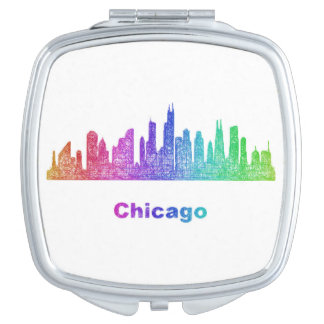 Rainbow Chicago skyline Mirror For Makeup