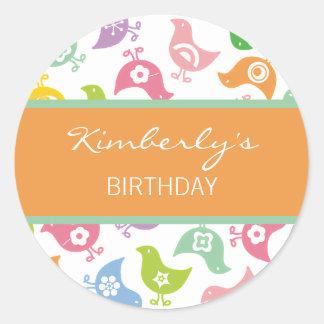 Rainbow Chicks Girl's Birthday Party Favor Sticker