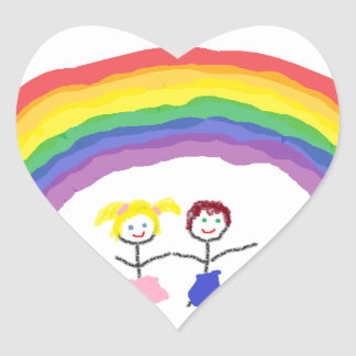 Rainbow Children Heart Sticker
